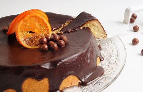 עוגת גבינה תפוז בציפוי גנאש שוקולד