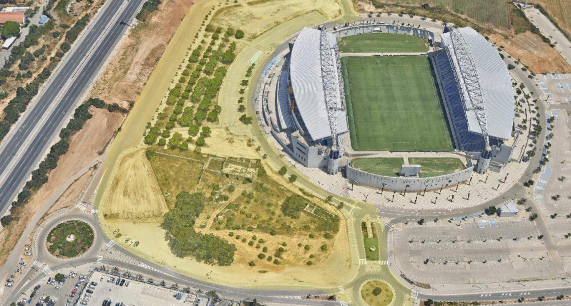מתחם דרייב-אין לבדיקות קורונה באיצטדיון נתניה